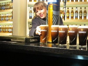 Pulling a pint in the Guiness Storehouse, Dublin